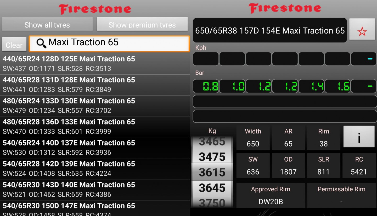 Firestone incluye los datos su Maxi Traction 65 en su aplicación de medición de presión de neumáticos