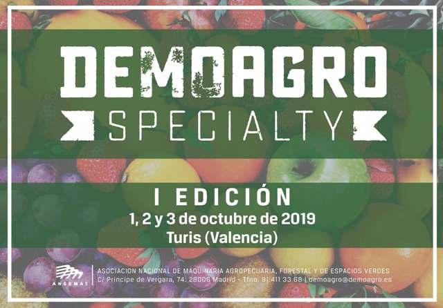 Turis acogerá la primera edición de Demoagro Specialty en octubre de 2019