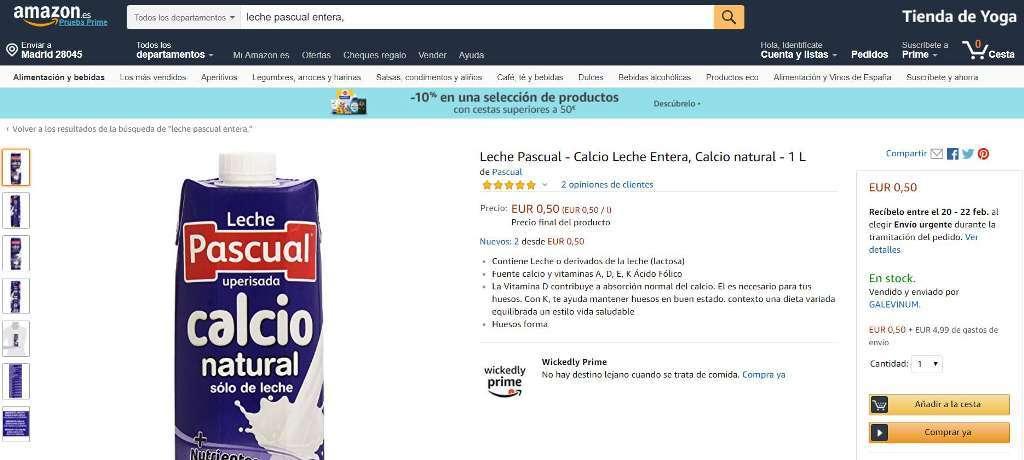 Unión de Uniones denuncia presunta «venta a pérdidas» online de leche UHT marquista a través  de Amazon