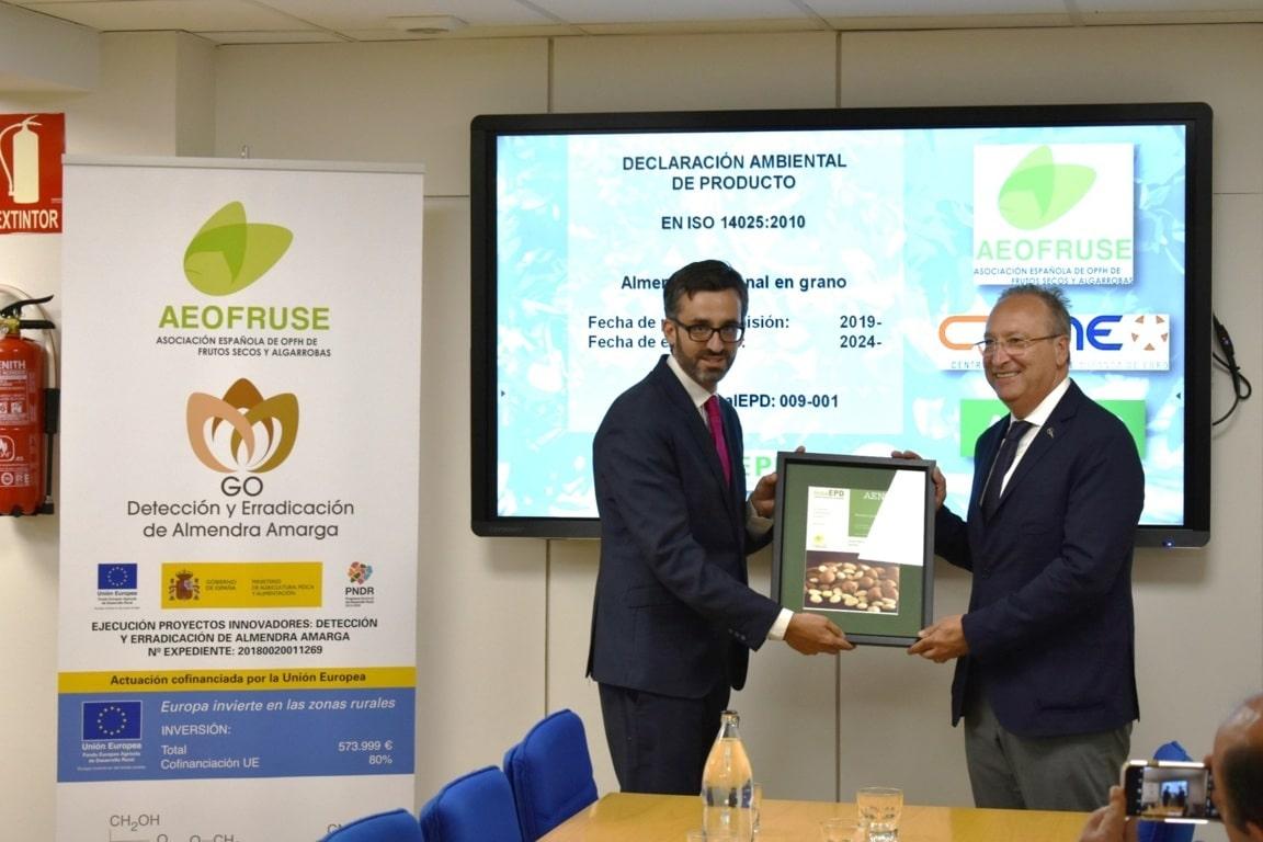 La almendra española obtiene la declaración ambiental de producto de AENOR