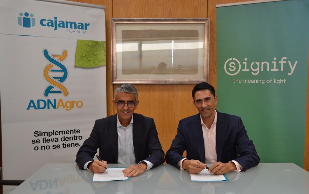 Acuerdo entre  Cajamar y Signify para investigar el crecimiento de cultivos agrícolas con iluminación artificial