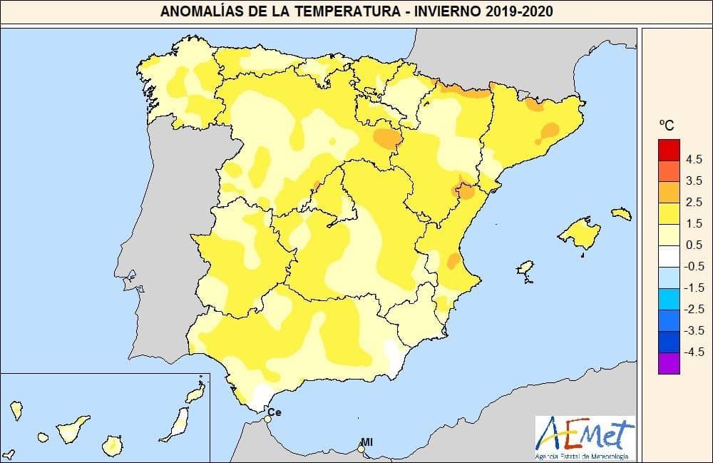 El invierno de 2020 ha sido el más cálido en España del siglo XXI