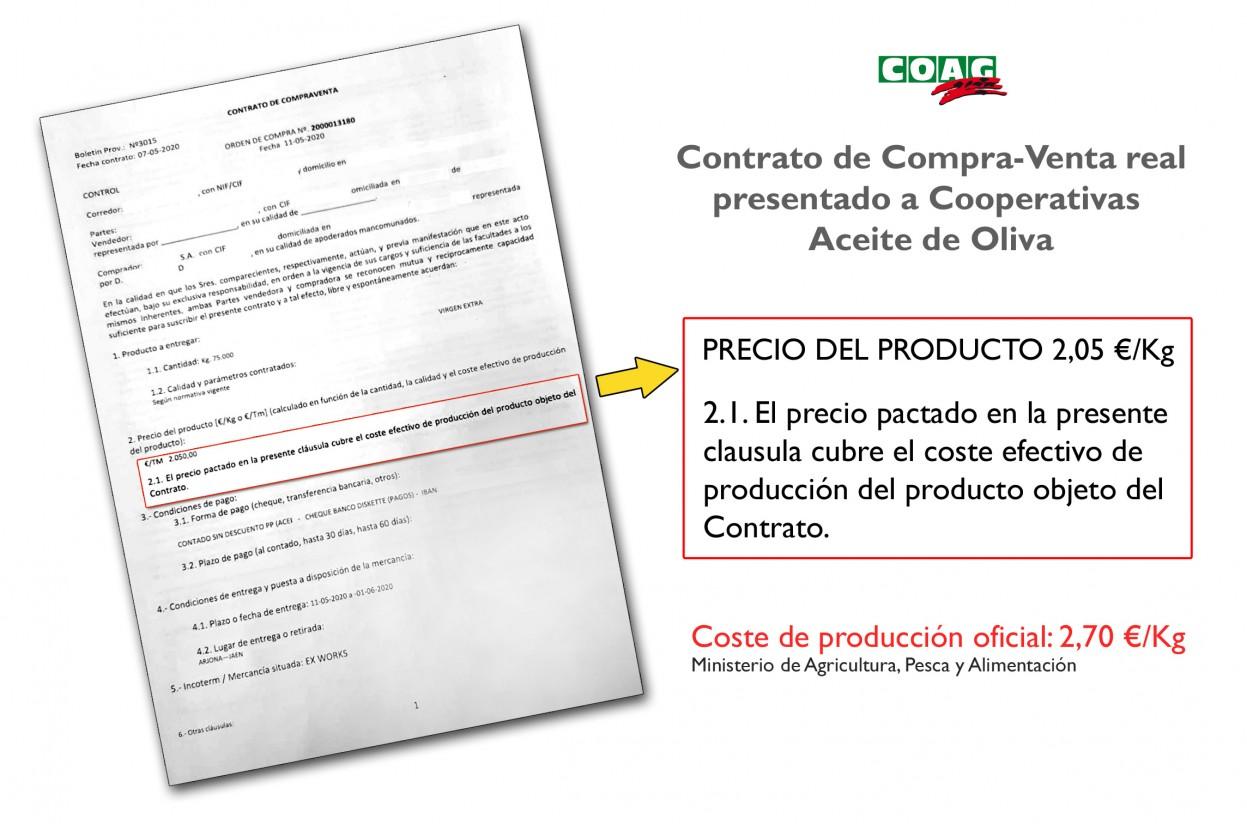 ¿Son falsos los costes de producción del aceite de oliva que se fijan en algunos contratos de compraventa?