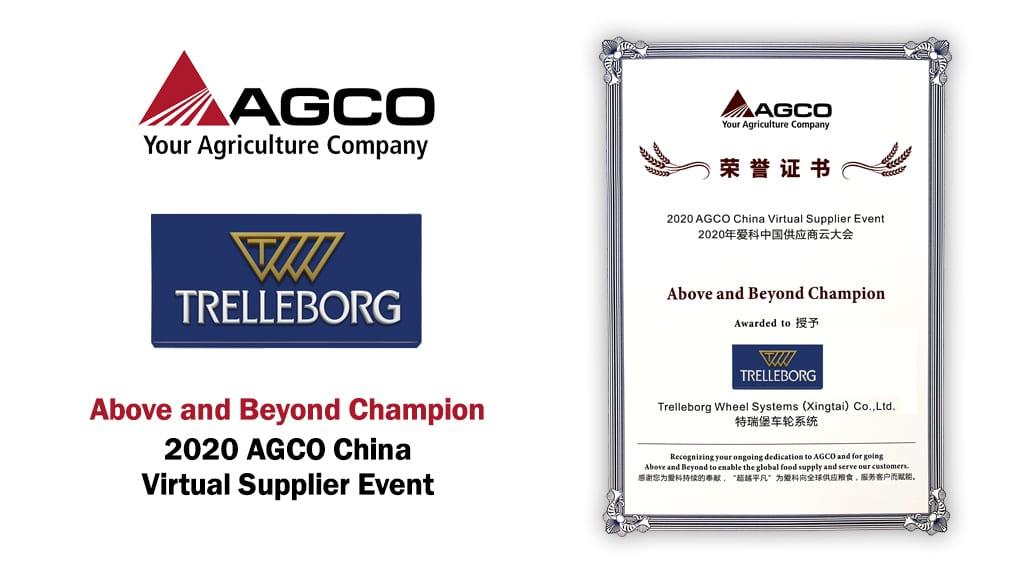 "Trelleborg, proveedor ""Above and Beyond Champion"" del grupo Agco en China"
