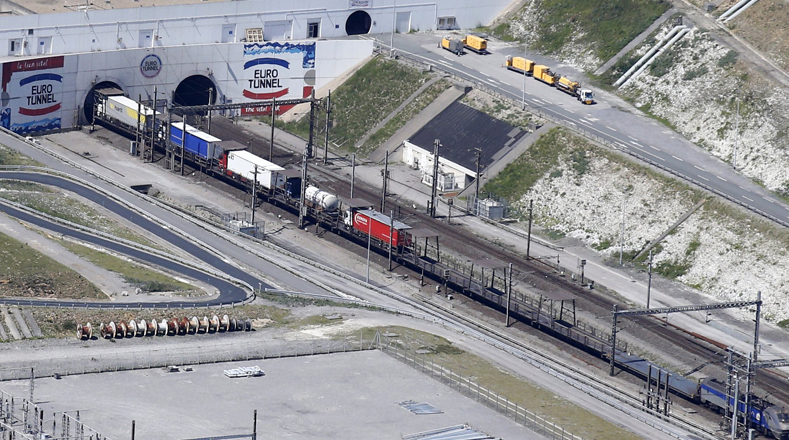An Eurotunnel freight shuttle enters the Channel tunnel in Coquelles, near Calais, northern France