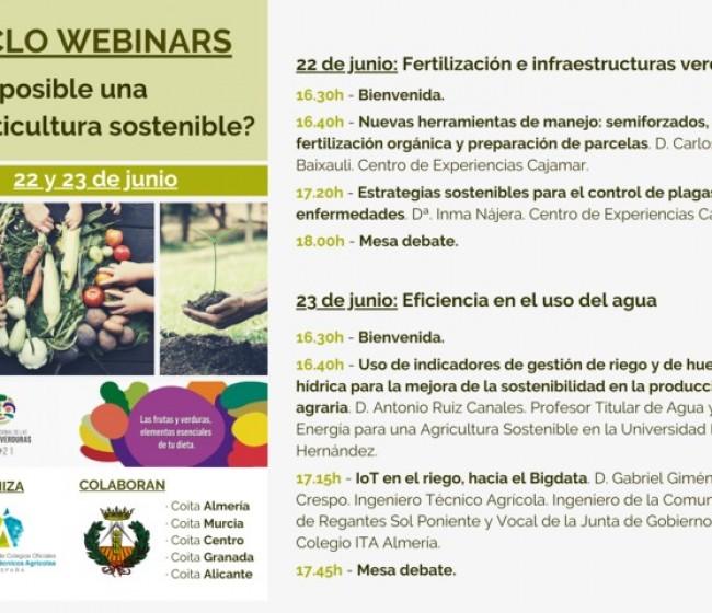 Webinar 22 y 23 de junio del Consejo de Ingenieros Agrícolas: ¿Es posible una horticultura sostenible?
