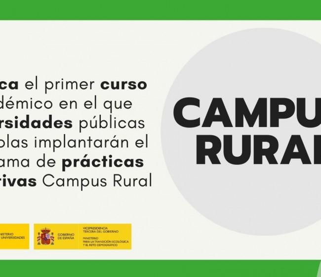 El primer programa «Campus Rural» arranca con el curso académico universitario 2021/22