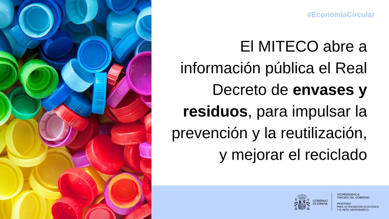 A información pública durante un mes el proyecto de RD de envases y residuos
