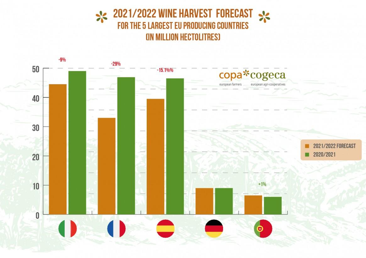El COPA-Cogeca prevé una producción de vino en la UE-27 históricamente baja en 2021/22