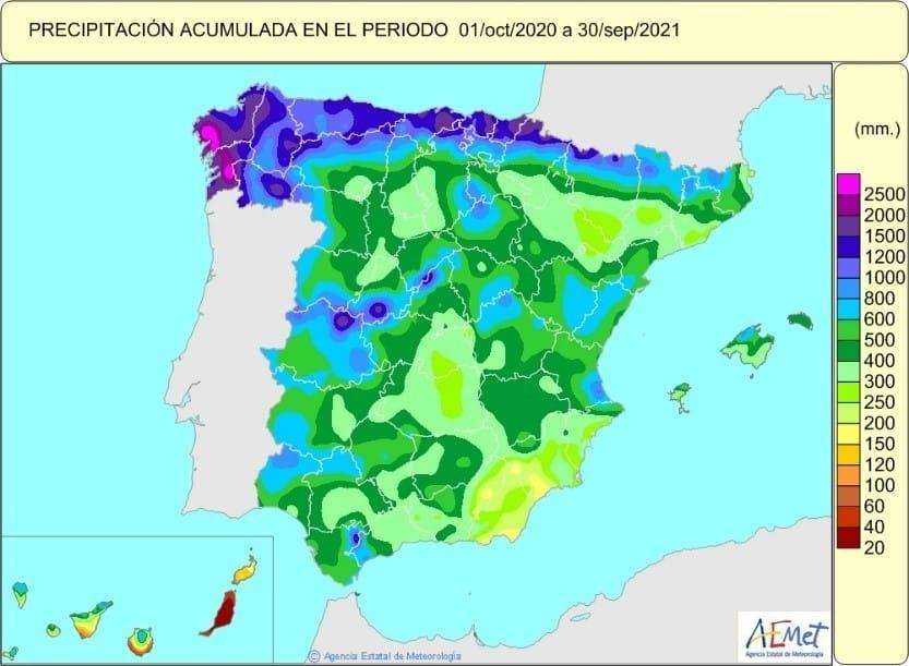 Un mes de septiembre muy húmedo cierra un año hidrológico normal en lluvias