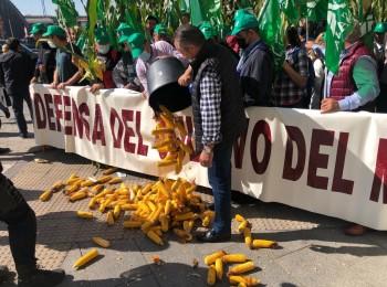 Concentración de agricultores ante el MAPA en protesta por el trato al cultivo del maíz en el PE-PAC